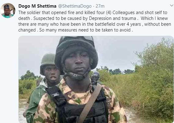 Soldier Kills Four Of His Colleagues Before Committing Suicide In Borno (Photo)