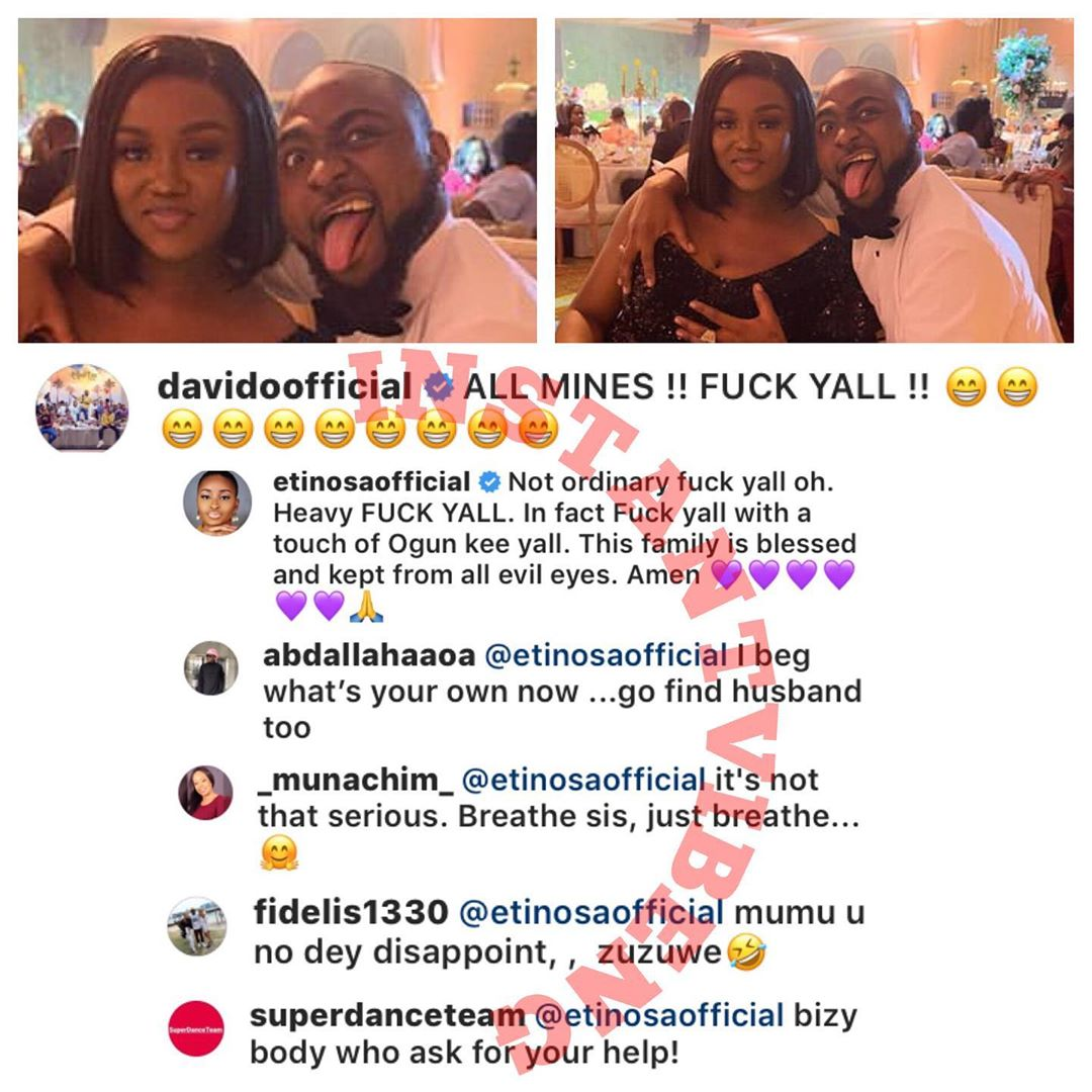 Actress, Etinosa Slammed Over Comment On Davido's Post