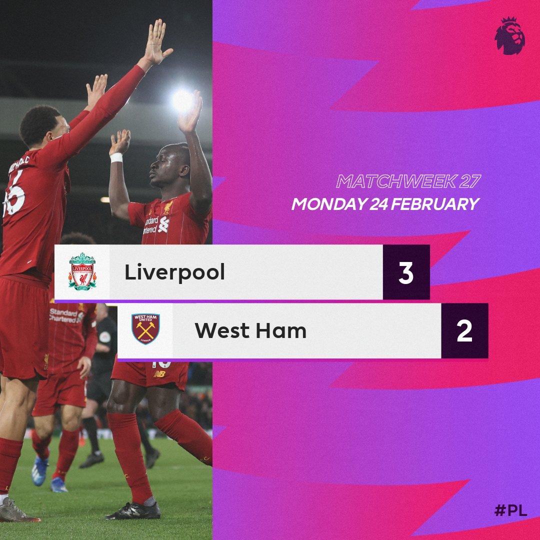 Liverpool 3 – 2 West Ham