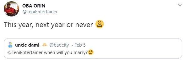 Teni Reveals When She'll marry