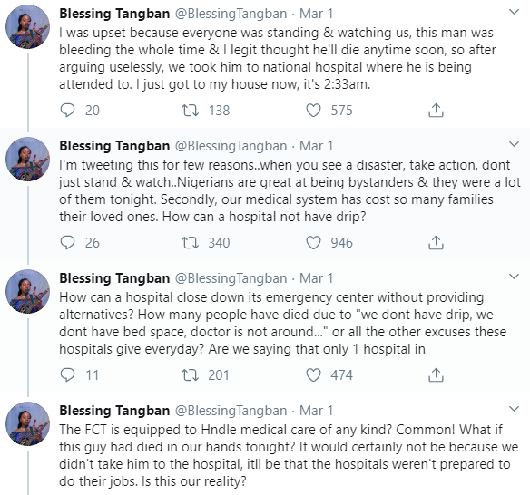Lady Shares Her Sad Experience At Different Hospitals Where She Rushed A Dying Man To In Abuja 11