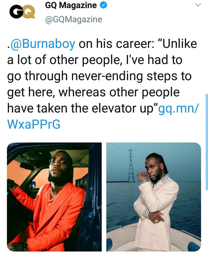 """I've Had To Go Through Steps Whereas Others Took The Elevator Up"" - Burna Boy"