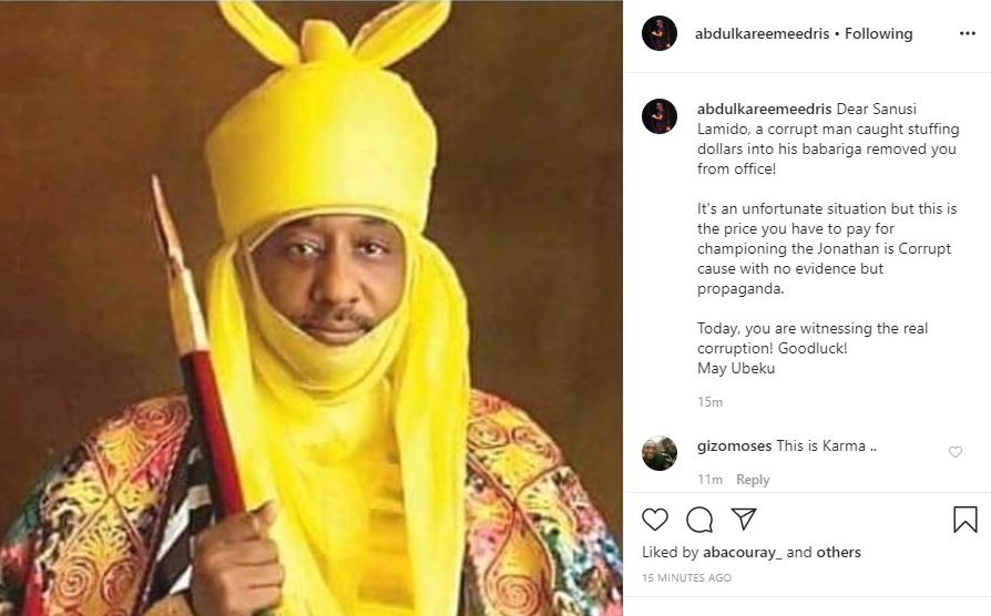 'A Corrupt Man Caught Stuffing Dollars Into His Babariga Removed You From Office' - Eedris Abdulkareem Mocks Sanusi 3