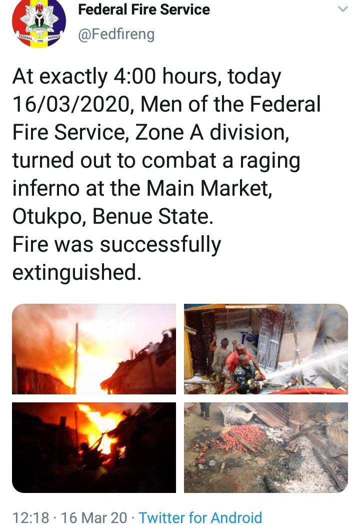 Fire Totally Destroys Otukpo Main Market In Benue (Photos/Videos)