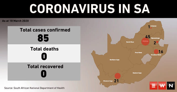 South Africa Records 116 Confirmed Cases Of Coronavirus