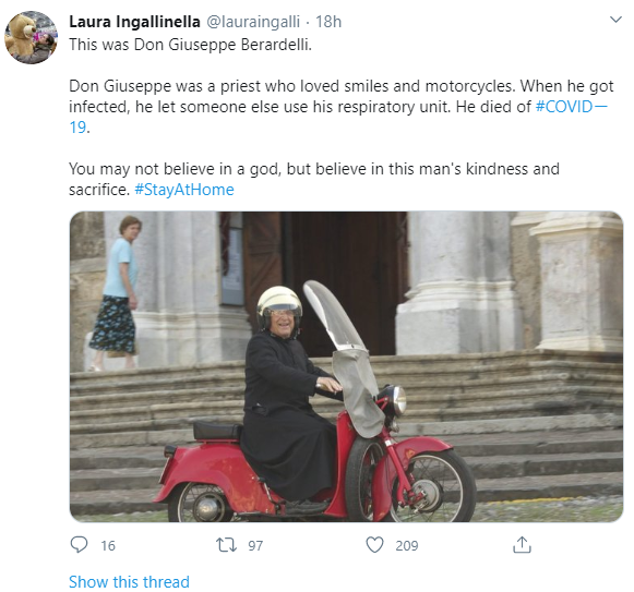 #COVIDー19: Italian Priest Dies After Giving His Respirator To Younger Patient 2