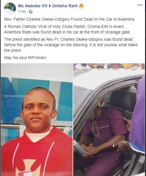 Catholic Priest Found Dead In His Car