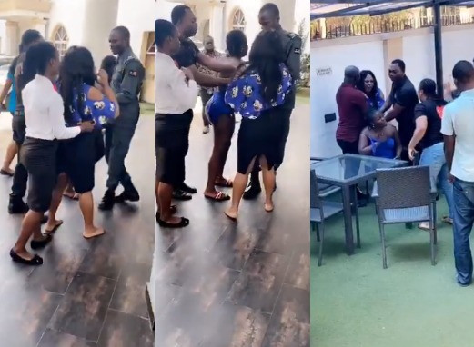 DRAMA! Woman Catches Her Husband And His Side Chic At A Hotel In Benin (Video)