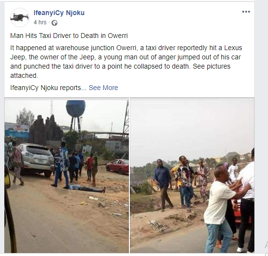 GOBE! Taxi Driver Scratches Man's Car, Angry Man Throws One Punch, Taxi Driver Dies Instantly (Photos) 6