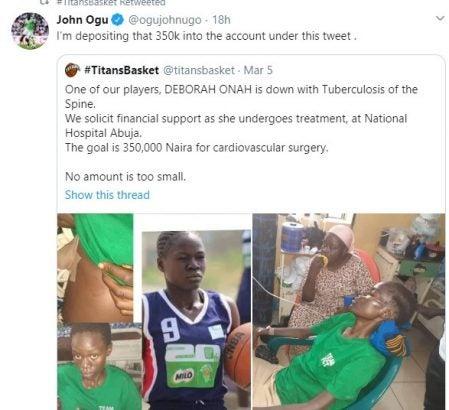 John Ogu Deposits N350k For Tuberculosis Treatment Of Basketball Player 3
