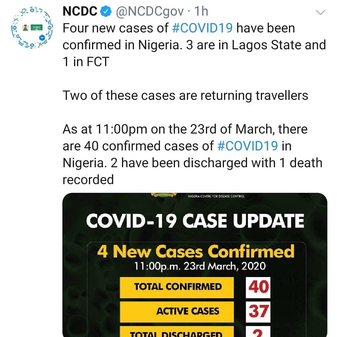 Nigeria Records Four New Cases Of Coronavirus In Lagos And Abuja