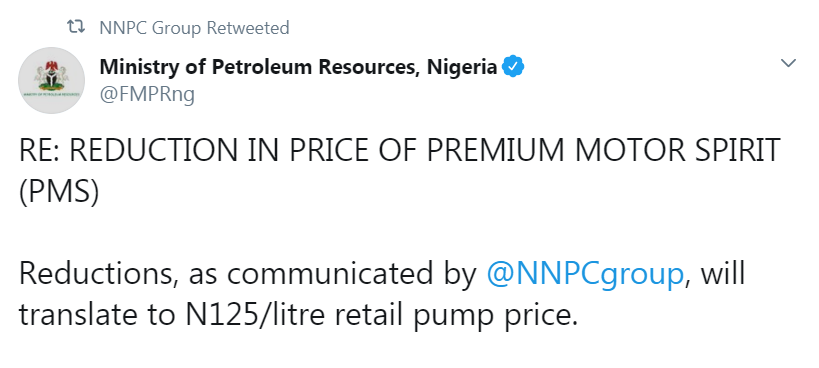Federal Government approval for an adjustment in the pump price of petrol, the Nigerian National Petroleum Corporation (NNPC) has been directed to change their pump prices to N125 per litre from Wednesday. Details shortly…