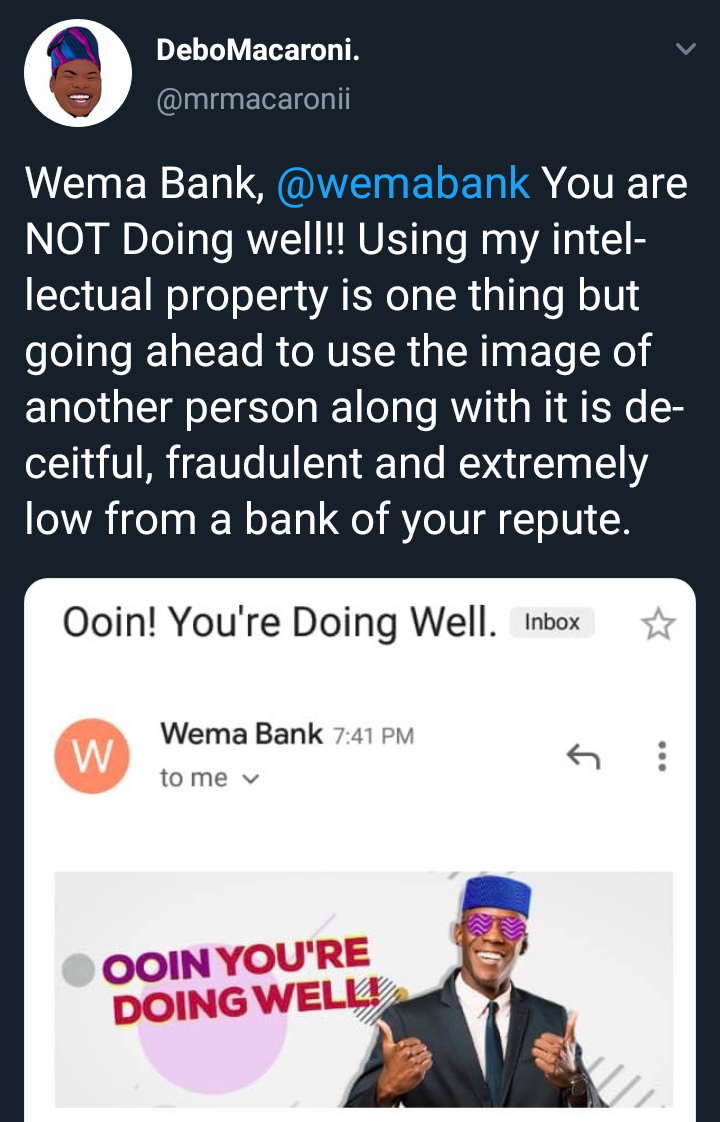 """Mr Macaroni Calls Out Wema Bank For Using """"Ooin You're Doing Well"""" Without His Consent"""