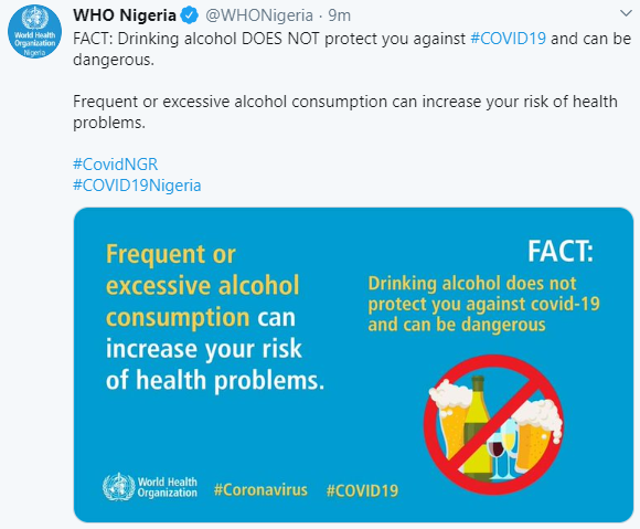 alcohol doesn't protect you against Coronavirus- WHO