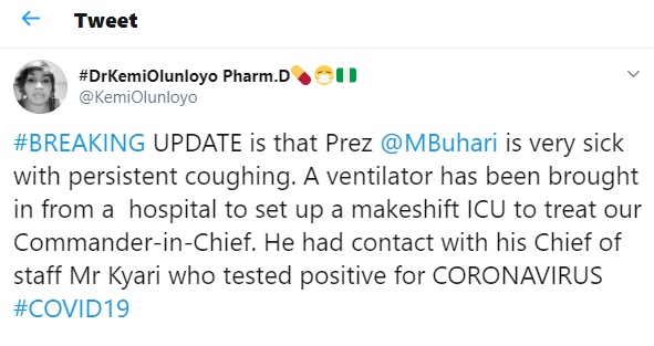"""""""Buhari is very sick with persistent coughing""""- Kemi Olunloyo"""