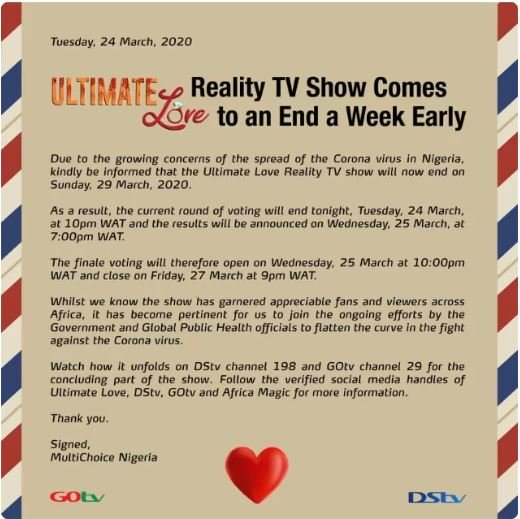 Ultimate Love TV Show To End This Weekend Over Coronavirus