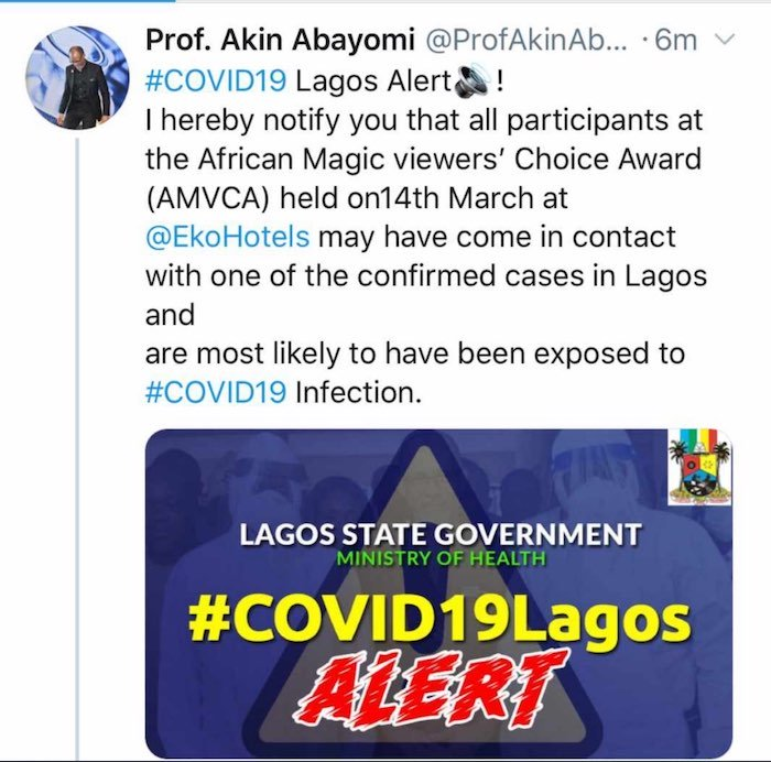 Lagos State Govt Issues Warning To All Those That Attended AMVCA To Self-Isolate As One Tested Positive To Coronavirus