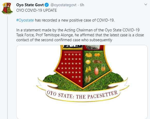 Oyo State Confirms New Coronavirus Case