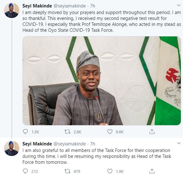 Oyo Governor, Seyi Makinde Has Recovered From Coronavirus