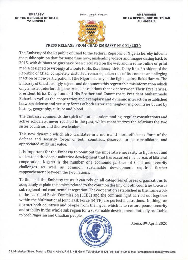 Chad Embassy Send Letter To Nigeria Over Fake Videos On Boko Haram War