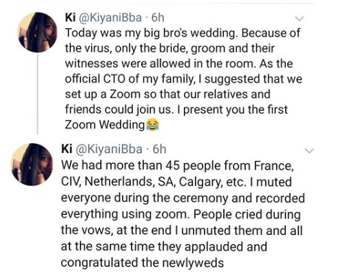 Couple Hold Their Wedding Online... Attended By Family Members In Different Countries (Photo)