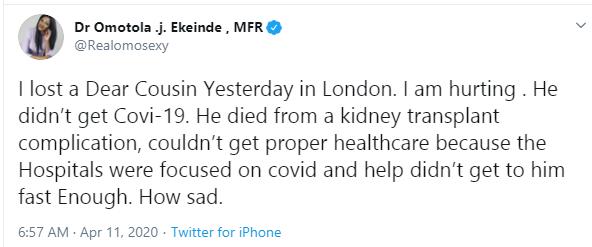 UK Health System Failed My Cousin Who Died Amid The Coronavirus Pandemic - Omotola Jalade-Ekeinde 3