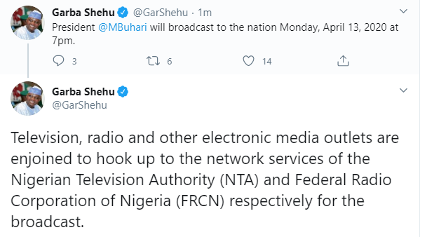 President Buhari To Address Nigerians By 7pm Today
