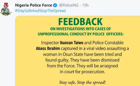 Police Officers Videoed Flogging A Lady In Osun Have Been Sacked 2