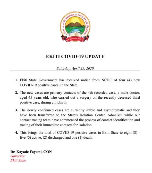 Ekiti State Confirms 4 New Cases Of Coronavirus