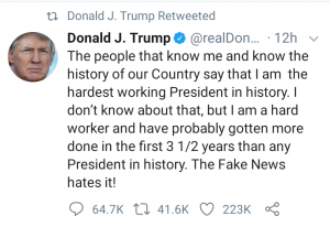 People that know me say I am the hardest working president in US history - Trump 6