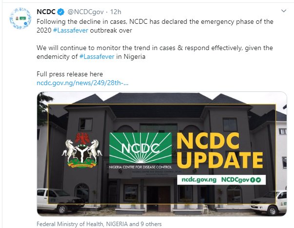 Nigeria Is Out Of Emergency Phase For Lassa Fever Outbreak – NCDC