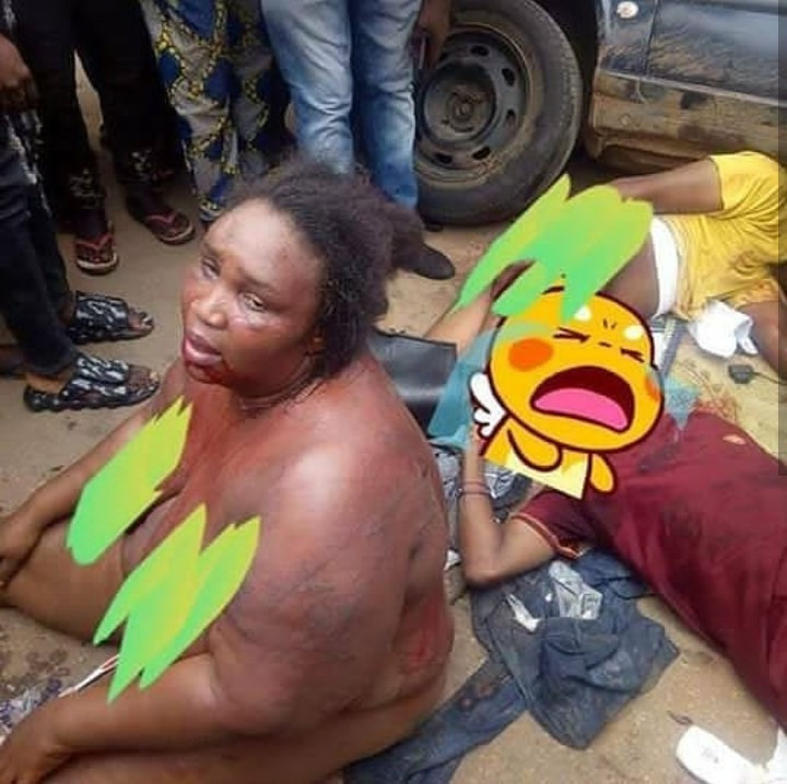 Female Robber Stripped Alongside Her Gang Members After They Were Caught Robbing Along Benin-Auchi Road