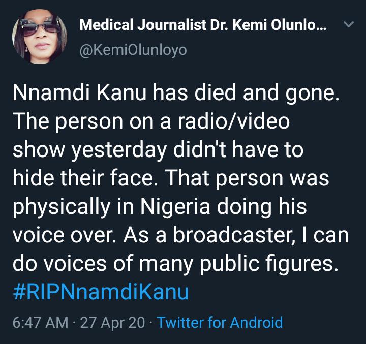 Nnamdi Kanu Is Dead - Kemi Olunloyo 3