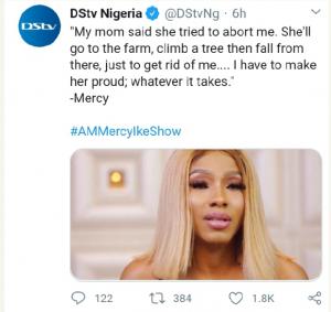 "My Mum Told Me She Tried To Abort Me"" - Emotional Bbnaija Mercy Reveals 3"