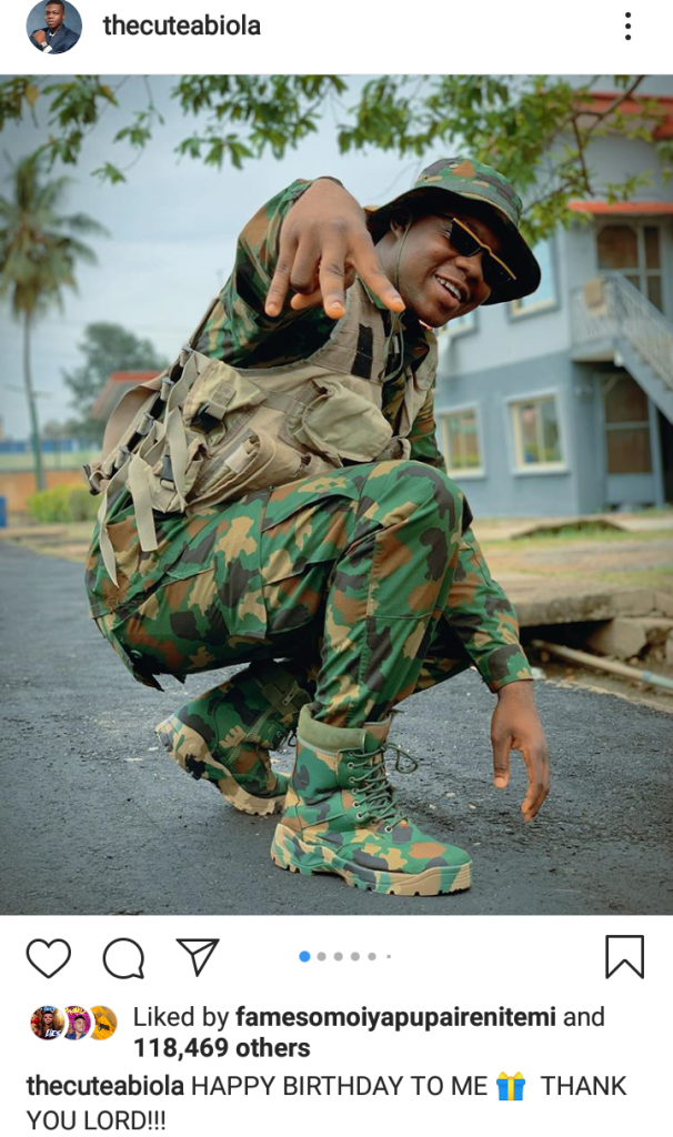 Nigerian Navy Arrest Comedian CuteAbiola Over His Birthday Pictures