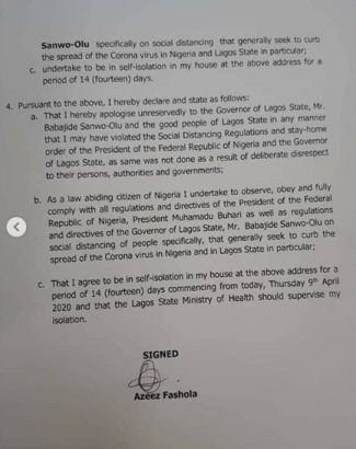 Read Naira Marley's Apology Letter To Lagos Governor For Violating The Social Distancing Order 9