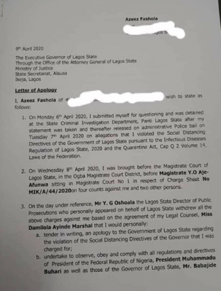 Read Naira Marley's Apology Letter To Lagos Governor For Violating The Social Distancing Order 8