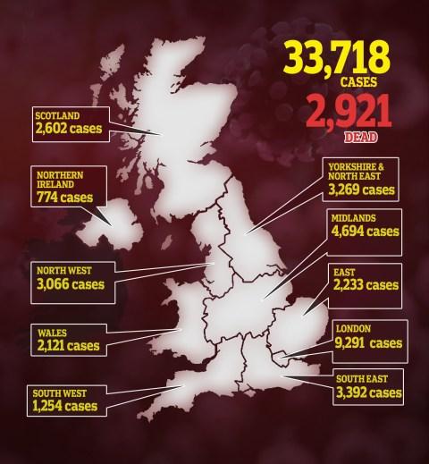 United Kingdom's Coronavirus Death Toll Hits 2,921