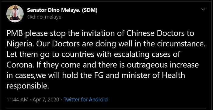 """""""Don't Invite Chinese Doctors To Nigeria"""" – Dino Melaye Tells President Buhari"""