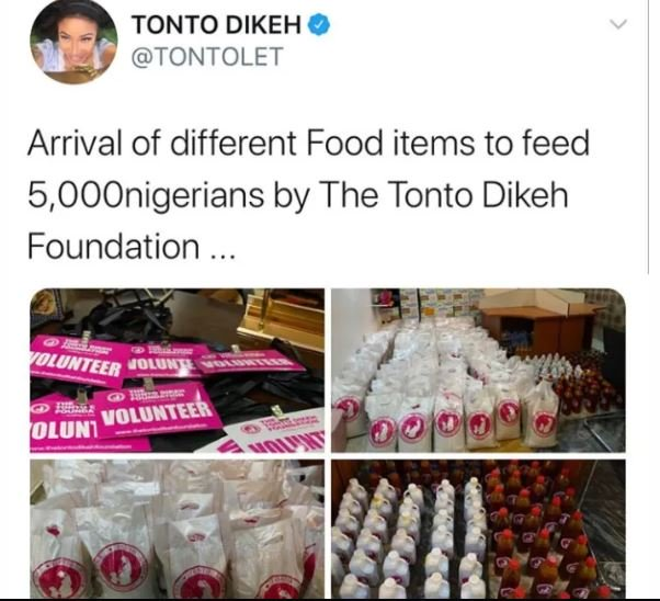 Actress, Tonto Dikeh To Feed 5000 Nigerians
