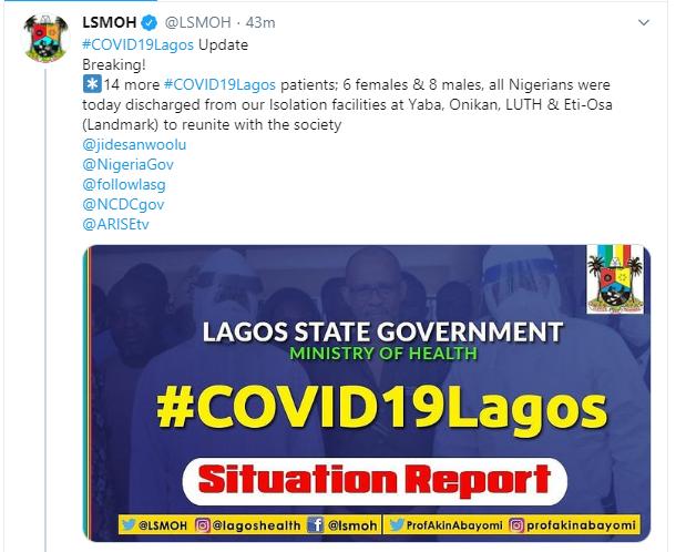 14 Coronavirus Patients Discharged In Lagos 3
