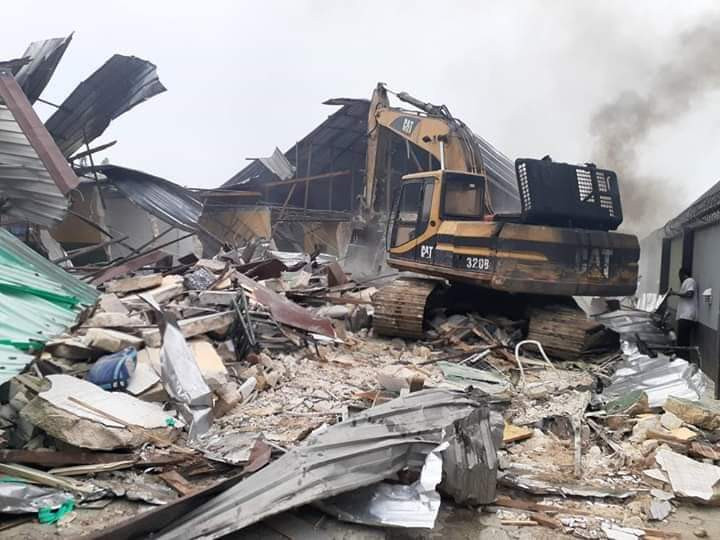 Governor Wike Demolishes Two Hotels For Violating Lockdown Rules (Photos)