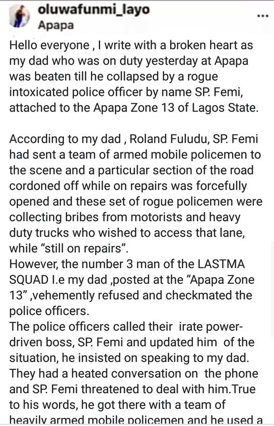 Policeman Allegedly Beats LASTMA Officer To Coma In Apapa (Video) 5