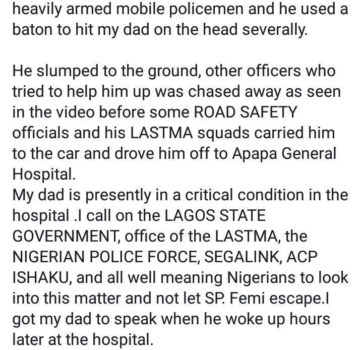Policeman Allegedly Beats LASTMA Officer To Coma In Apapa (Video) 6