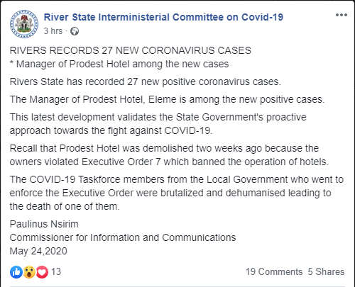 Demolished Hotel's Manager Among 27 New Cases Of Coronavirus – Rivers State Gov't 3