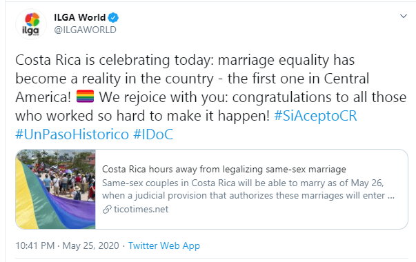 Same-Sex Marriage Legalized In Costa Rica