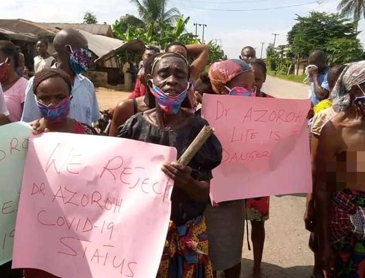 Ogoni Women Strip Half-Naked As They Protest, Asking Gov. Wike To Release Manager Of Demolished Hotel Who Allegedly Tested Positive For COVID-19 (Photos)