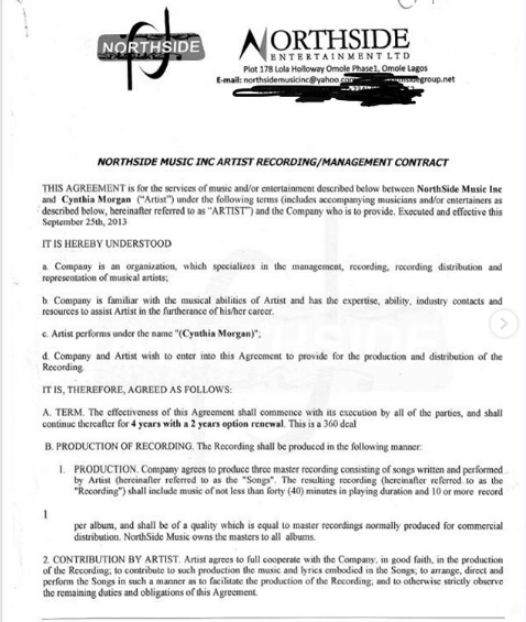 See The Contract Between Cynthia Morgan and Jude Okoye's Northside Entertainment