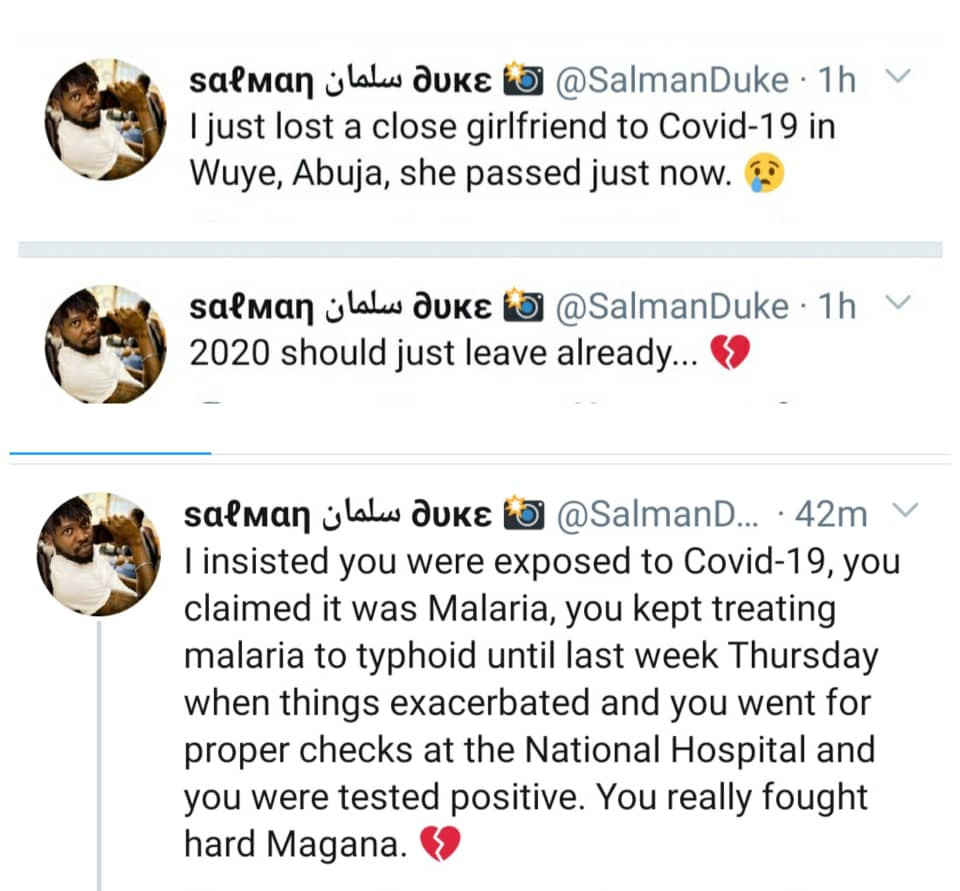 Nigerian Man Mourns His Close Girlfriend Who Died Of COVID-19 In Abuja