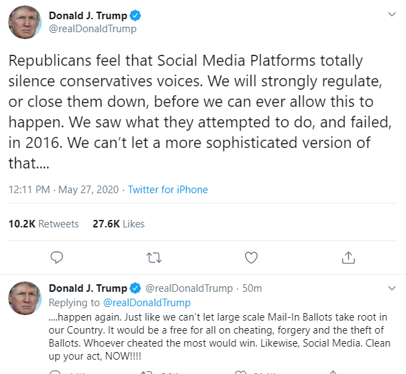 President Trump Threatens To Shut Down Social Media Platforms After Twitter Put A Warning On His Tweet